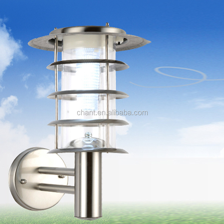Solar energy wall lamp stainless steel Household LED outdoor garden courtyard wall lamp