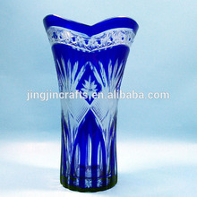 Cobalt blue Bohemian Czech hand cut to clear larger crystal glass vase flower vase