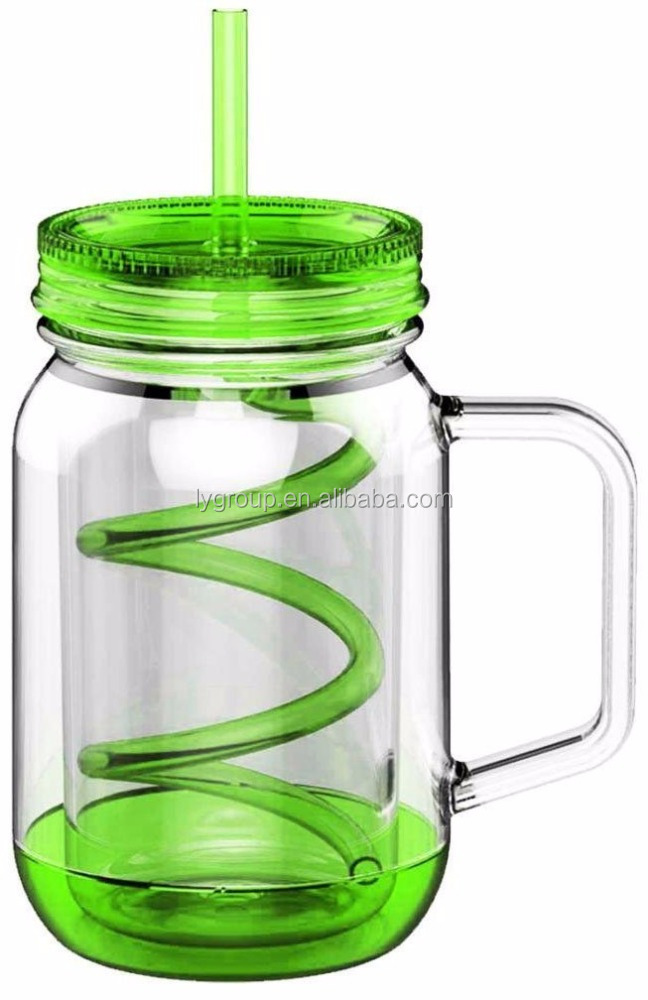 100% bpa free food grade 20oz double wall plastic mason jar with handle and straw,Mason Jars Tumbler Mugs with spiral straw