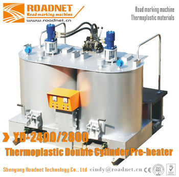 Double drum thermoplastic pre-heater paints melting machine for thermoplastic materials