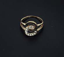 Double Linked Circles Gold Silver Plated Round Ring For Lovers