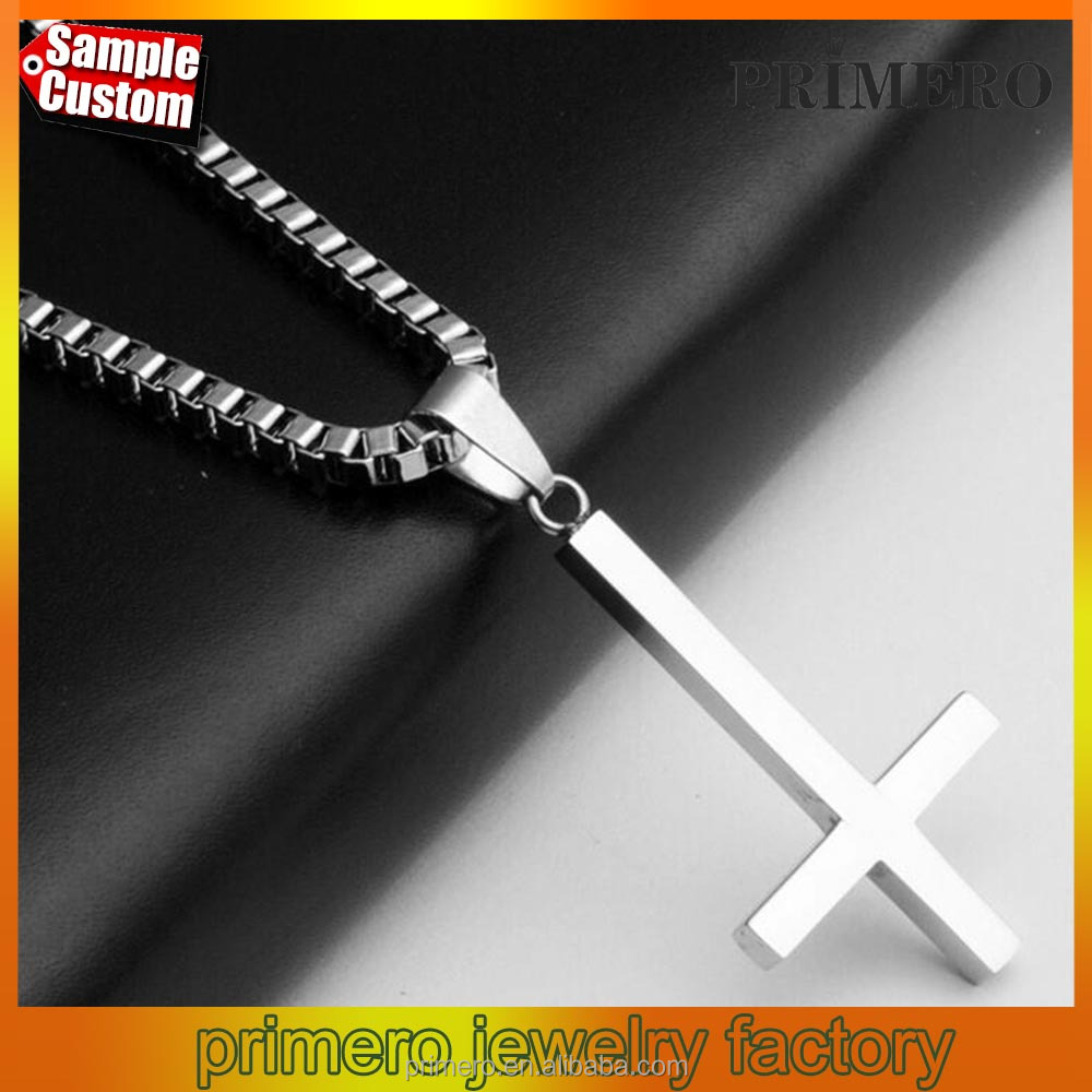 Fashion Rock N' Roll Mens Chain Silver Tone Cross Stainless Steel Pendant Necklace