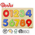 Wholesale wooden puzzle colorful number puzzle 2D Toy