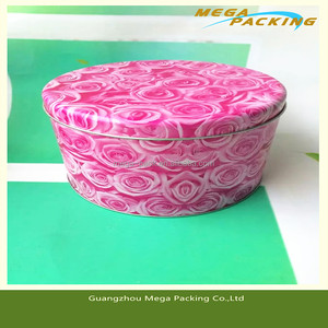 pink color metal tin box for girl's makeup tools, cosmetic tin cans