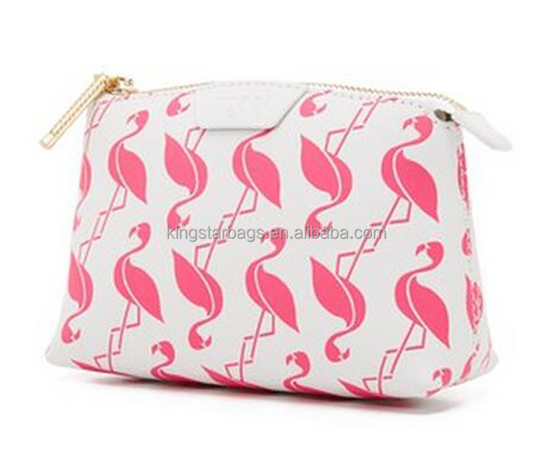 colorful flamingo print leather pouch