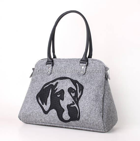 Lovely loyal dog print fashion comfortable felt bag