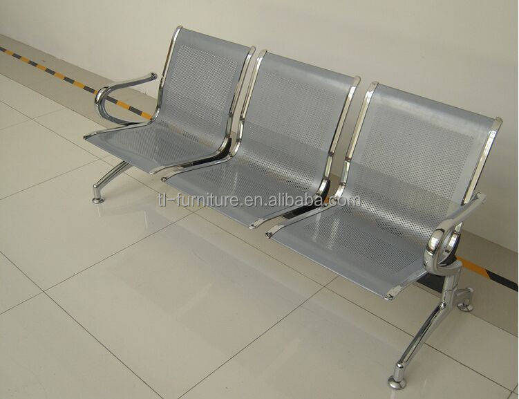 Shining silver chrome gang chair,hospital 3 seater waiting chair,stainless steel airport chair