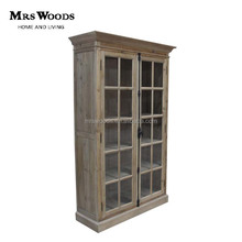 french double door glazed reclaimed vintage wooden display cabinet