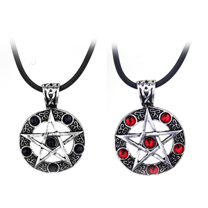 2 Colors Supernatural Round Pentagram Crystal Necklace