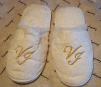 Promotional disposable hotel slippers with embroidery logo