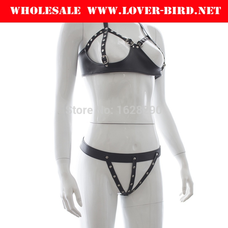 Soft PU Leather Open Breast Sexy Underwear Costumes Bondage Nipple Bra Sex Products For Women