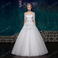 Elegant Long 3/4 Sleeves Lace Appliqued Off The Shoulder Aline Wedding Dresses With Sleeves