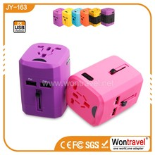 JY-163 2015 best worldwide plug adapter USB international travel universal plug adapter supplier gift for travel