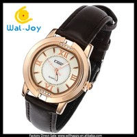 WJ-4272 high quality Japan movement genuine leather quartz stainless steel watch water resistant