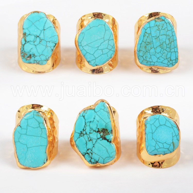 Guangzhou jewelry manufacturer 18K real gold plated turquoise gemstone ring