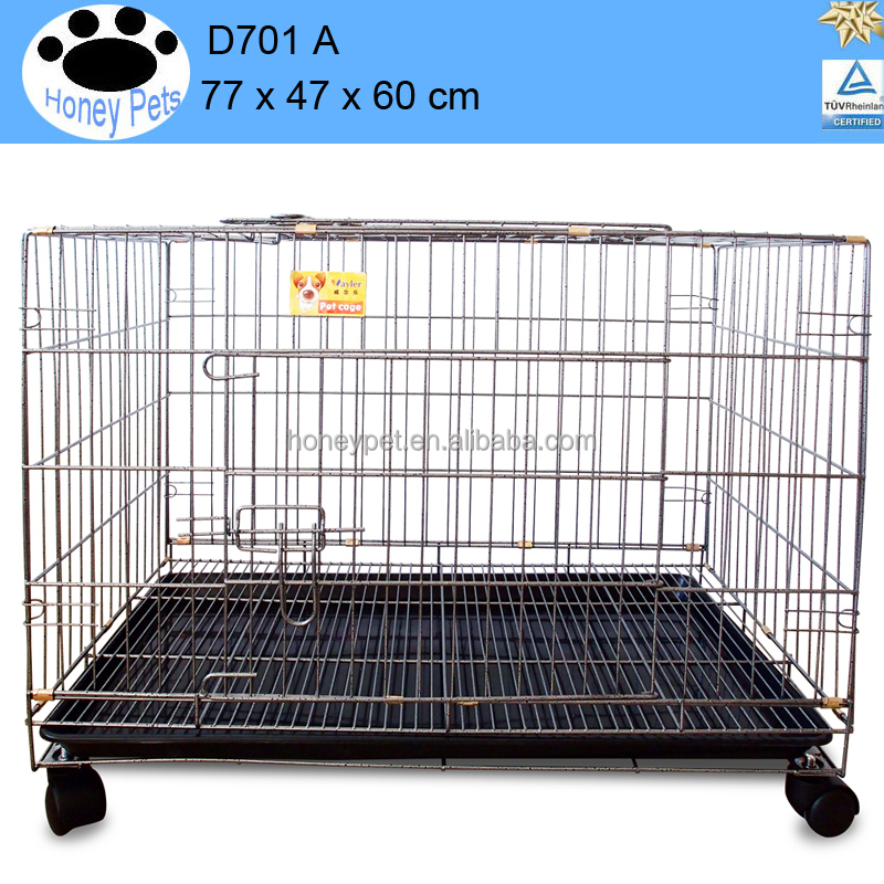 plastic & wire black new portable foldable steel bar dog cage