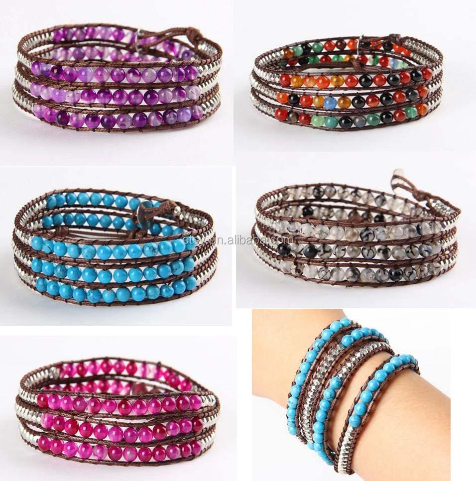 Leather Boho Chic Beads Wrap Bracelet