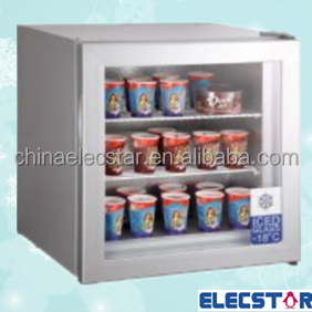 ice cream mini counter top freezer with glass door and branding.table top glass door mini fridge