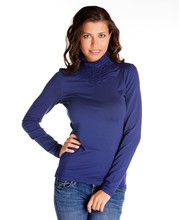POLO-NECK SMOCKED LONG SLEEVE T-SHIRT