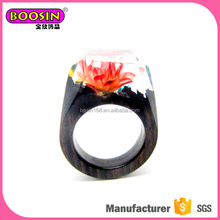 dazzling purity Red snow lotus handmade wood jewelry wooden resin ring