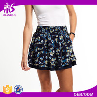 Hot Selling 2017 Shandao Latest Style Sexy Summer Women Casual Short Mini A Line Ruffle Floral Printed Cotton Little Skirt