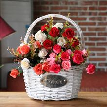 2017 New wicker gift baskets white wicker flower baskets with plastic liner