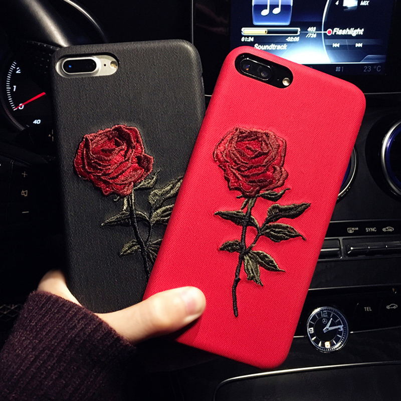 2017 New Handmade Embroidery Rose PU cell phone case For iPhone X 8 Plus 6 7