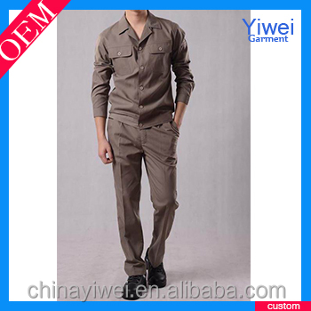 Zip up blank khaki cotton overalls customized overalls