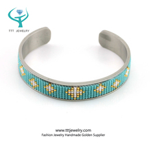 [TTT Jewelry] Big Size seed bead Stainless Steel greek bangle