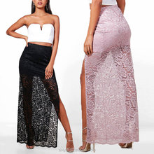 Latest Design Summer Fashion Ladies Thigh Split Lace Maxi Skirt