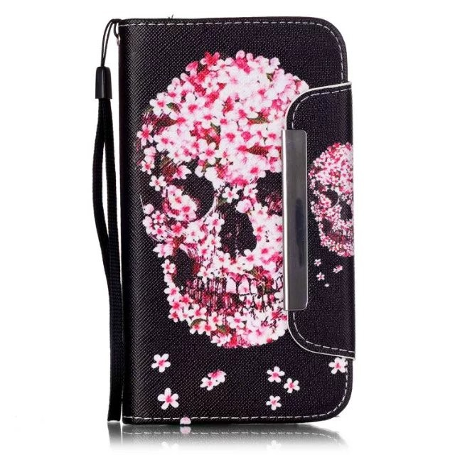 pattern painted flip magnetic case for samsung J5 J510 POUCH WITH CARD SLOT hang rope