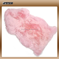 China manufacturer dyed pink color natural leather area rug