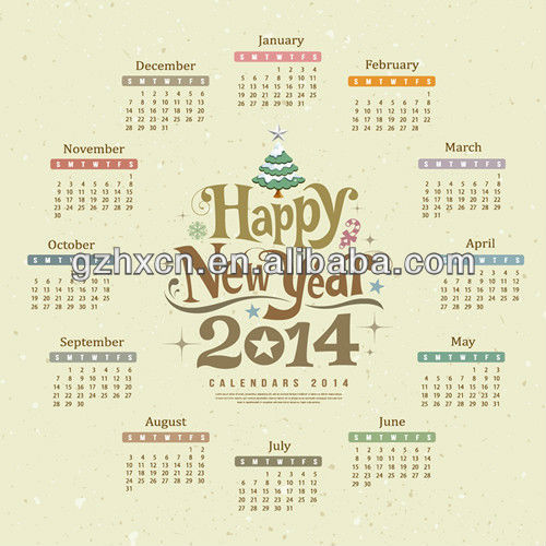 2014 new year wall calendar