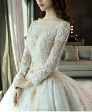 Latest bridal shining matte satin wedding dress Long sleeves Scoop neckline bridal gown TS87