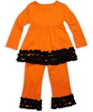 2015 Baby Girl Halloween Outfit girls kids clothes leg warmers black and orange kids clothes Wholesale boutique baby outfits