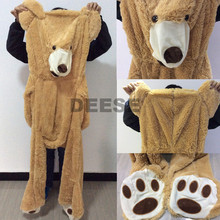 2016 Plush toys 160cm teddy bear empty shell coat bear skins Light purple with zipper Christmas Valentine's Day, birthday Gifts