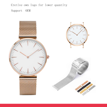 2017 Hot Sale Minimalistic Stainless Steel Case Back Classic Mesh Quartz OEM Watch