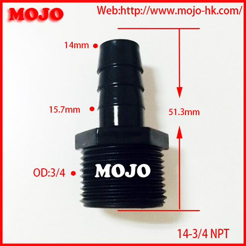 MJ-14-3/4 NPT water hose connector Straight type plastic pipe nozzle connector,hose connector,pipe <strong>fittings</strong>
