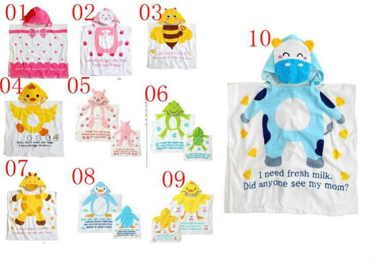 100% Cotton Reactive Printing hooded baby towel pattern, poncho hooded