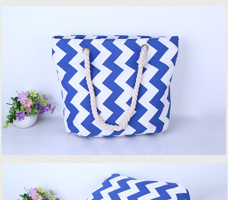 wholesale chevron stripe canvas beach tote bag for kids
