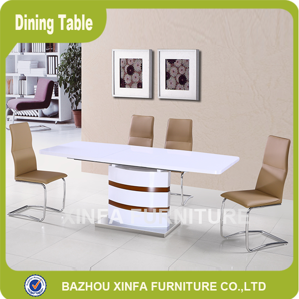 Luxury white high gloss MDF wood expanding dining table and chairs