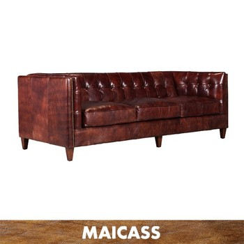 Distressed vintage leather 3 seater sofa for cigar room