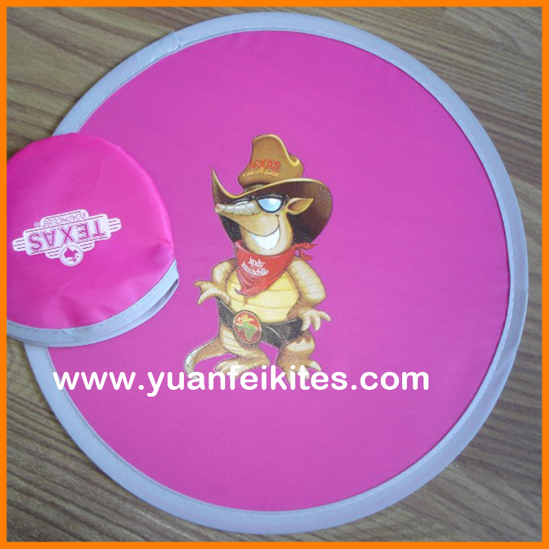 promotional customer logo printing foldable polyester fabric flying disc frisbee