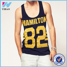 Trade Assurance Yihao 2015 Mens Custom Print Gym Wear Clothing Blended Cotton Stringer Vest Tank Top