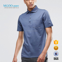 MGOO Latest Design Custom Pima Cotton Shirts For Men Navy Blue 200g Pima Polo Shirts Buttons Up Short Sleeves