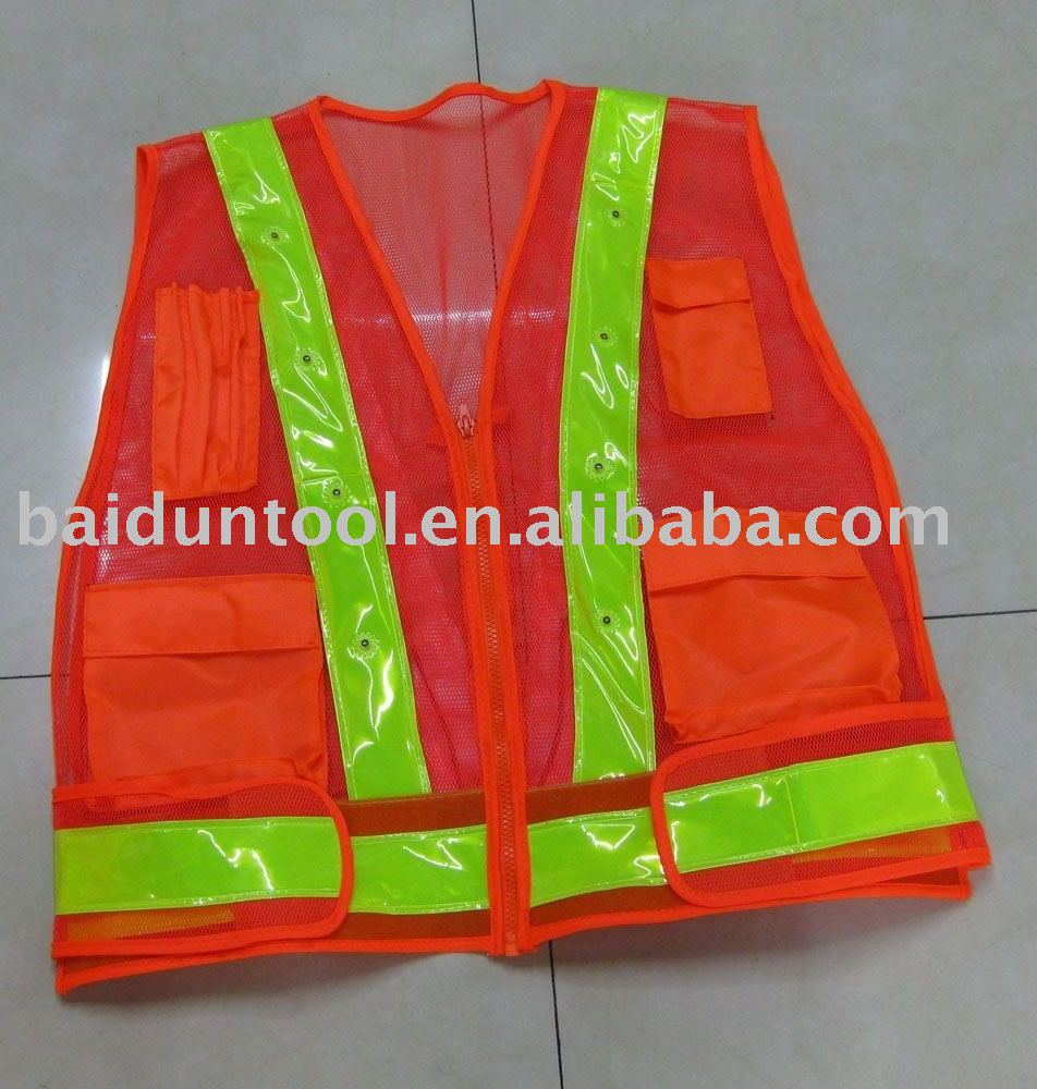 flashing LED Reflective safety clothes/16pcs led light safety jacket/mesh fabirc safety vest with led lights