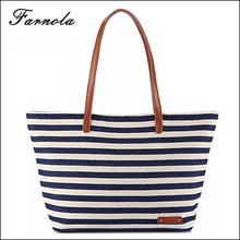 Oem Services striped large space canvas handbag customized wholesale beach bag for women