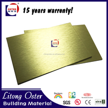 Gold brushed/silver brushed/Bronze color aluminium composite panel with 4mm 3mm 5mm thick