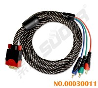 Suoer Braided Component Cabo VGA 1.8m VGA Cable Male to Male VGA to 3 RCA Cable