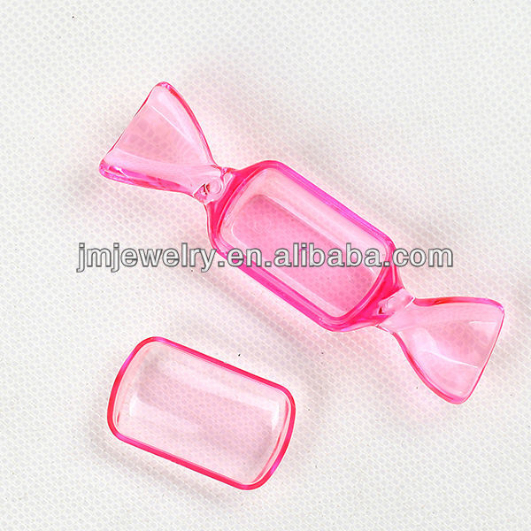 clear pink color candy shaped plastic storage box